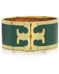 Tory Burch - Tory Gold Brass And Banyan Green Enamel Raised Logo Wide Cuff Bracelet - Lyst