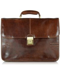 Chiarugi - Large Brown Leather Briefcase - Lyst