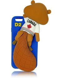 DSquared² - Housse de Protection pour iPhone 6 en Silicone Bleu avec Castor Canadien - Lyst