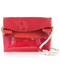 MM6 by Maison Martin Margiela - Red Patent Leather Foldover Shoulder Bag - Lyst