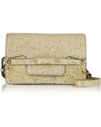 RED Valentino - Platinum Crackled Metallic Leather Flap Top Crossbody Bag - Lyst