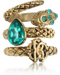Roberto Cavalli - Goldtone Metal Triple Ring W/blue Crystals - Lyst