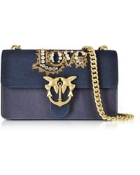 Pinko - Love Denim And Leather Shoulder Bag W/crystals - Lyst