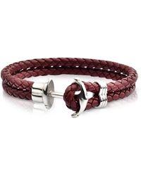 FORZIERI - Light Brown Leather Men's Bracelet W/anchor - Lyst