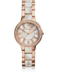 Fossil - Virginia Rose Tone Horn Acetate Women's Watch - Lyst