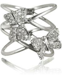 Bernard Delettrez - Criss Cross 18k White Gold Ring W/two Diamond Butterflies - Lyst