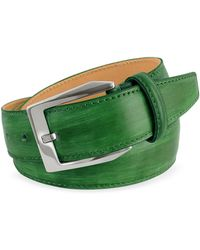 Pakerson - Men's Green Hand Painted Italian Leather Belt - Lyst