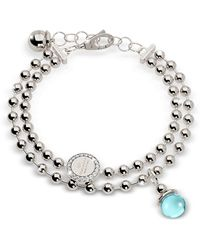 Rebecca - Boulevard Stone Rhodium Over Bronze Double Beadball Chain Bracelet W/hydrothermal Turquoise Stone - Lyst