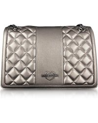 Love Moschino - Gunmetal Quilted Eco Leather Shoulder Bag - Lyst
