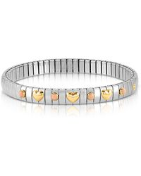 Nomination - Stainless Steel Women's Bracelet W/golden Hearts And Coral Beads - Lyst