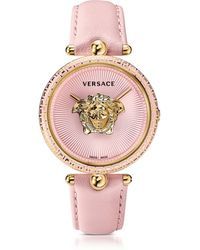 Versace Palazzo Empire Pink And Pvd Plated Gold Unisex Watch W/3d Medusa - Metallic