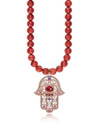 Thomas Sabo - Rose Gold Plated Sterling Hand Of Fatima And Red Coral Long Necklace W/pink Zirconia - Lyst
