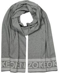 KENZO Signature Black Cotton Long Scarf