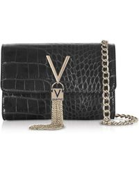 Valentino By Mario Valentino Audrey Croco Embossed Eco Leather Shoulder Bag - Black