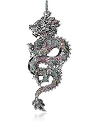 Thomas Sabo - Blackened Sterling Silver Enamel And Multicolour Glass-ceramic Stones Small Chinese Dragon Pendant - Lyst
