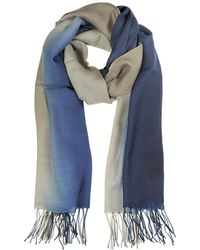 Mila Schon - Gradient Blue/brown Wool And Cashmere Stole - Lyst