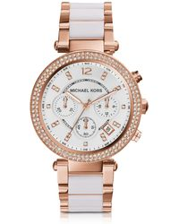 Michael Kors - Parker Stainless Steel And White Acetate Women's Watch - Lyst