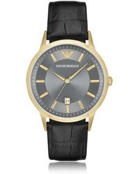 Emporio Armani - Gold-tone Pvd Stainless Steel Men's Quartz Watch W/croco Embossed Leather Strap - Lyst