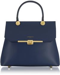 Le Parmentier - Atlanta Navy Blue Leather Top Handle Satchel Bag W/shoulder Strap - Lyst