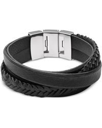Fossil - Black Braided And Smooth Leather Men's Wrap Bracelet - Lyst