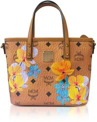 MCM - Essential Visetos Floral Print Cognac Top Zip Mini Tote Bag - Lyst
