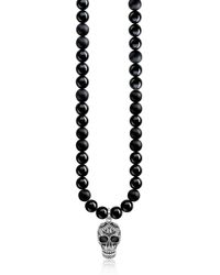 Thomas Sabo - Blackened 925 Sterling Silver & Obsidian Beads Power Necklace Maori Skull Necklace W/zirconia Pave - Lyst