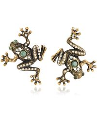 Alcozer & J - Frog Earrings W/crystals - Lyst