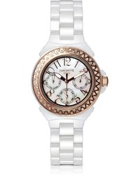 Lancaster - Ceramic Diamonds White Multifunction Quartz Movement Watch - Lyst