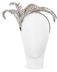 Nana' | Beverly - Black And White Feather Flower Headband | Lyst