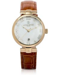 Lancaster - Chimaera Yellow Gold Stainless Steel And Brown Croco Leather Watch - Lyst