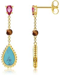 Thomas Sabo - Yellow Gold Plated Sterling Silver Riviera Colours Earrings W/turquoise Synthetic Red Corundum And Tiger Eye Stones - Lyst