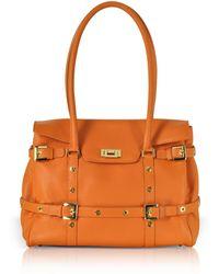 Fontanelli - Orange Buckled Calf Leather Satchel Bag - Lyst