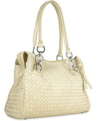Fontanelli - Ivory Woven Italian Suede & Leather Satchel Bag - Lyst