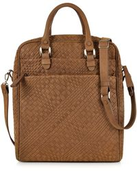 8ca0f0ebef FORZIERI - Brown Woven Suede Vertical Messenger Bag - Lyst