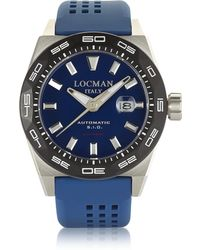 LOCMAN - Stealth 300 Mt Analog Display Automatic Self Wind Blue Stainless Steel, Titanium And Silicone Men's Watch - Lyst