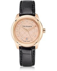 Trussardi - T01 Lady Rose Gold Stainless Steel And Black Leather Women's Watch - Lyst