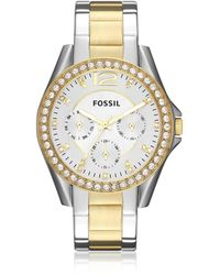 Fossil - Riley Multi-function Two Tone Stainless Steel Watch - Lyst
