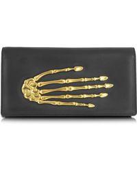 Bernard Delettrez - Black Nappa Leather Pochette W/skeleton Hand - Lyst