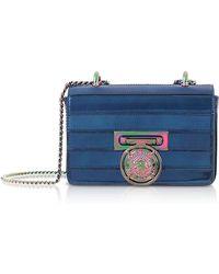 9c105934b1 Balmain - Cobalt Blue Mirrored Leather Baby Box Shoulder Bag - Lyst
