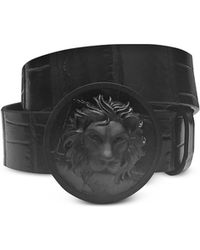 4ba70988fd1 Lyst - Gucci Marmont Croco Embossed Leather Belt in Black