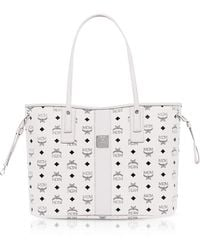 MCM - Shopper Project Visetos White Medium Reversible Tote Bag - Lyst