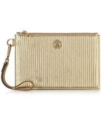 Roberto Cavalli - Platinum Gold Laminated Quilted Nappa Leather Zip Clutch - Lyst