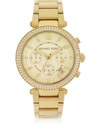 Michael Kors - Golden Stainless Steel Parker Chronograph Glitz Women's Watch - Lyst