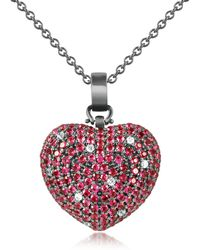 Azhar - Sterling Silver And Cubic Zirconia Heart Pendant Necklace - Lyst