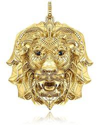 Thomas Sabo - 925 Sterling Silver & 18k Yellow Gold Lion Pendant W/black Zirconia - Lyst