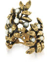 Alcozer & J - Mistletoe Brass Ring W/glass Pearl - Lyst