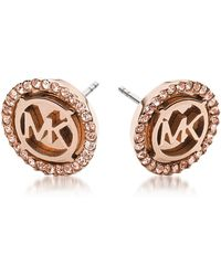 Michael Kors - Heritage Pvd Rose Goldtone Stainless Earrings W/crystals - Lyst