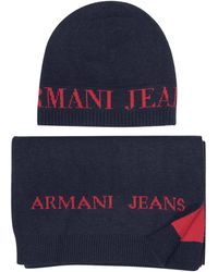 Armani Jeans - Signature Knitwear Set Of Hat And Long Scarf - Lyst