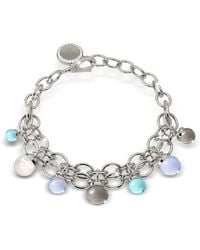 Rebecca | Hollywood Stone Rhodium Over Bronze Chains Bracelet W/hidrothermal Stones | Lyst