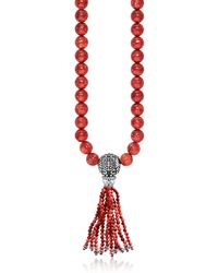 Thomas Sabo - Power Necklace Red Sterling Silver And Coral Beads Long Necklace W/tassel - Lyst